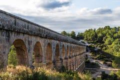 Ancient Roman aqueduct in Tarragona, Spain, sunset Royalty Free Stock Photo