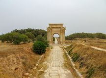 Free Ancient Roman Arch Of Septimius Severus At Leptis Magna On The Mediterranean Coast Of Libya In North Africa Stock Image - 112908221