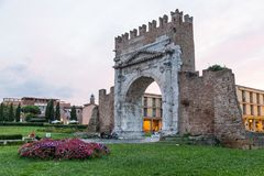 Ancient roman arch Rimini, Emilia Romagna, Italy Royalty Free Stock Photos