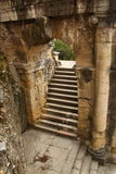 Ancient roman arch and staircase. An ancient arch above a staircase in the Roman Theater in Verona, Italy stock photos