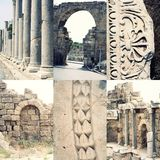 Ancient roman architecture - ruined buildings with. Pillars and weathered  marble ornament, famous place Side (Turkey)/ Set of images of archeological sites in Royalty Free Stock Photography