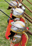 Ancient roman armor. Helmets, shields and spears Stock Photos