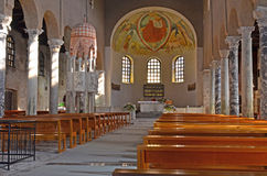 Ancient Roman Basilica. The ancient roman basilica of Saint Euphemia in Grado Northern Italy, with its well known fresco of christ enthroned Royalty Free Stock Photography
