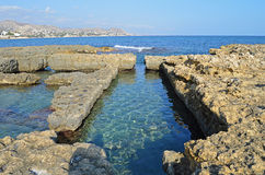 Roman Baths. Cut into the rock at El Campello in Spain royalty free stock photos