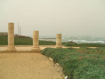 Ancient Roman beach columns, Caesarea, Israel Royalty Free Stock Images