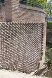 Ancient Roman Brick Wall. This patterned brick wall shows the craftsmanship and artistry of ancient Roman engineering. Photo take April 2015 Royalty Free Stock Image