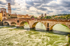 Ancient Roman Bridge called Ponte di Pietra in Verona Royalty Free Stock Photos