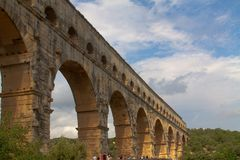 Ancient Roman bridge in French Royalty Free Stock Photography