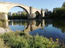 Ancient Roman bridge. Over the river Miño in the province of Orense, Spain royalty free stock photos