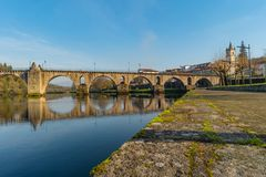 Ancient roman bridge of Ponte da Barca, ancient portuguese village in the north of Portugal.  stock image