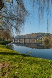 Ancient roman bridge of Ponte da Barca, ancient portuguese village in the north of Portugal.  royalty free stock photo
