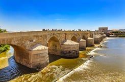 Ancient Roman Bridge River Guadalquivir Cordoba Spain. Ancient Roman Bridge Entrance River Guadalquivir Cordoba Spain Roman bridge was built in the 1st Century royalty free stock images