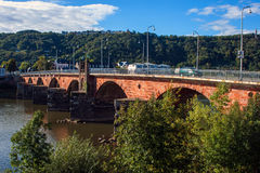Ancient Roman bridge in Trier Stock Photos