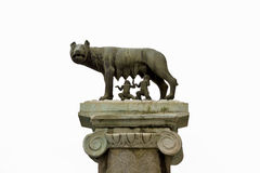 Ancient roman bronze of the she-wolf suckling Romulus and Remus Stock Photos