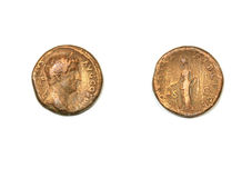 Ancient Roman coin. On a white background. Emperor Hadrian and allegory of the civic pax Stock Photography