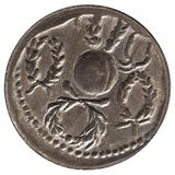Ancient roman coin isolated over white. Background Royalty Free Stock Image