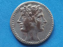 Ancient roman coin with Janus. Bifrons god royalty free stock photography