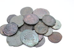 Ancient Roman Coins. Ancient coins from the Roman Empire Royalty Free Stock Photos