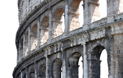 Ancient Roman Colosseum in Italy. Section of the Colosseum in Rome, Italy, showing the many arches that compose the exterior stock images