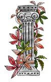 Ancient Roman column. Overgrown with deciduous plants. royalty free illustration