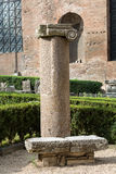 Ancient Roman column in the ruins of the Baths of Diocletian in Rome, Royalty Free Stock Photo