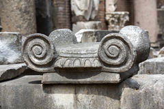 Ancient Roman column in the ruins of the Baths of Diocletian in Rome Stock Image
