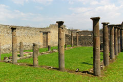 Ancient roman columns. View on ancient roman forum columns and ruines, pompeii, italy, europe Stock Photography