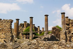Ancient roman columns. View on ancient roman forum columns and ruines, pompeii, italy, europe Royalty Free Stock Image