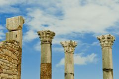 Ancient roman columns. In Volubilis, Morocco Stock Photography