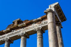 Ancient Roman Columns , Rome, Italy. Ancient Roman Columns  still upright in situ, Rome, Italy Royalty Free Stock Photography