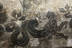 Ancient Roman Dragon Mosaic Ostia Antica Rome Royalty Free Stock Photography