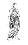Ancient Roman emperor. Historical costume - Ancient Roman emperor in a tunic, styled with relief the end of the 1st century stock illustration
