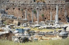 ancient roman empire antalya turkey, perge, city life and old hammam Stock Images