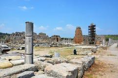 Ancient roman empire antalya turkey, perge, old column restoration Stock Photo