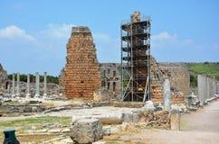 Ancient roman empire antalya turkey, perge, old column restoration Royalty Free Stock Image