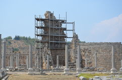 Ancient roman empire antalya turkey, perge, old column restoration Stock Images