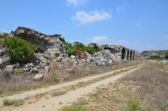 Ancient roman empire antalya turkey, perge, old water canal Royalty Free Stock Photography