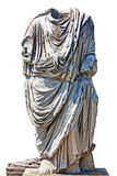 Ancient Roman empire bust with tunic isolated in white backgroun Stock Photography