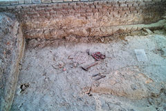 Ancient Roman floor screed excavation Royalty Free Stock Photography