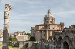 Ancient Roman Forum, the heart of the Italian capital city Royalty Free Stock Photos