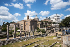 The Ancient Roman Forum and the Palatine Hill in Rome Italy Stock Photo