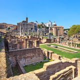 Roman forum ruins panorama. Unesco heritage site. Rome, Italy. Ancient roman forum ruins panoramic view. Unesco heritage site. Rome, Italy, Europe Stock Images