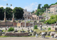 Ancient Roman Forum ruins in Rome. Ancient Roman Forum ruins excavations in Rome. Forum Romanum, Foro Romano. Ruins of several important ancient government Stock Image