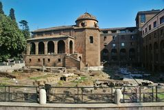 Ancient Roman Forum ruins in Rome. Ancient Roman Forum ruins excavations in Rome. Forum Romanum, Foro Romano. Ruins of several important ancient government Royalty Free Stock Image
