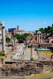 Ancient Roman Forum ruins in Rome. Ancient Roman Forum ruins excavations in Rome. Forum Romanum, Foro Romano. Ruins of several important ancient government Stock Images