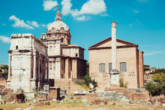 Ancient Roman Forums in Rome, Italy. Ancient Roman Forums in Italy Stock Image