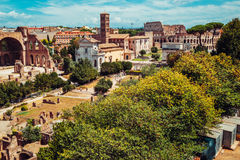 Ancient Roman Forums in Rome, Italy. Vintage filter Royalty Free Stock Photography