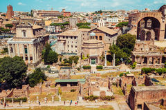 Ancient Roman Forums in Rome, Italy. Vintage filter Royalty Free Stock Image