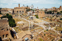 Ancient Roman Forums in Rome, Italy. Vintage filter Stock Photos