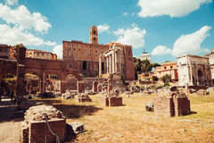 Ancient Roman Forums in Rome, Italy. Vintage filter Royalty Free Stock Photo
